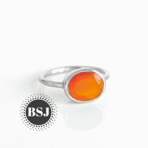 Shop Carnelian Rings! Oval Carnelian Ring, Simple Band Ring, 925 Sterling Silver, Free Shipping, Orange Color Stone, Gemstone Jewelry, Gift For Her, Handmade Ring | Natural genuine Carnelian rings, simple unique handcrafted gemstone rings. #rings #jewelry #shopping #gift #handmade #fashion #style #affiliate #ad