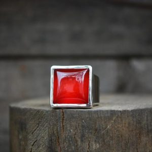 Shop Carnelian Rings! Carnelian Ring, Size 7.75 , Statement Ring,Orange Gemstone Ring, Fall Gemstone Ring, Bright Orange, Red Carnelian, Sterling Silver, Recycled | Natural genuine Carnelian rings, simple unique handcrafted gemstone rings. #rings #jewelry #shopping #gift #handmade #fashion #style #affiliate #ad