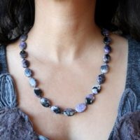 Charoite Necklace Boutique Purple Black Swirling Oval Beaded Genuine Gemstone | Natural genuine Gemstone jewelry. Buy crystal jewelry, handmade handcrafted artisan jewelry for women.  Unique handmade gift ideas. #jewelry #beadedjewelry #beadedjewelry #gift #shopping #handmadejewelry #fashion #style #product #jewelry #affiliate #ad
