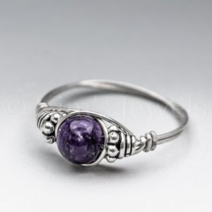 Shop Charoite Rings! Dark Purple Charoite Bali Sterling Silver Wire Wrapped Gemstone BEAD Ring – Made to Order, Ships Fast! | Natural genuine Charoite rings, simple unique handcrafted gemstone rings. #rings #jewelry #shopping #gift #handmade #fashion #style #affiliate #ad