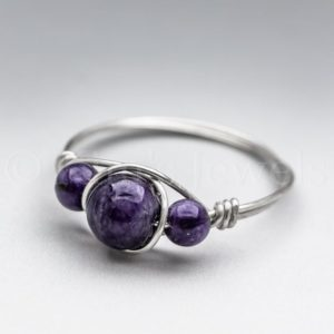Shop Charoite Rings! Dark Purple Charoite Sterling Silver Wire Wrapped Gemstone BEAD Ring – Made to Order, Ships Fast! | Natural genuine Charoite rings, simple unique handcrafted gemstone rings. #rings #jewelry #shopping #gift #handmade #fashion #style #affiliate #ad
