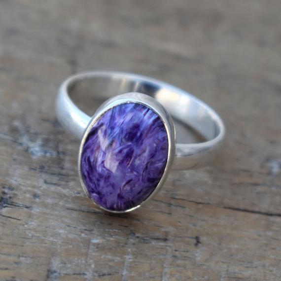 Charoite Ring,gemstone Charoite Ring,solid 925 Sterling Silver Purple Gemstone Ring,magic Stone Ring,natural Birthstone Ring,gift For Her