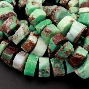 "Huge Phenomenal Faceted Natural Australian Chrysoprase Beads Center Drilled Rondelle Wheel Saucer Hand Cut Graduated Nuggets 15.5"" Strand 