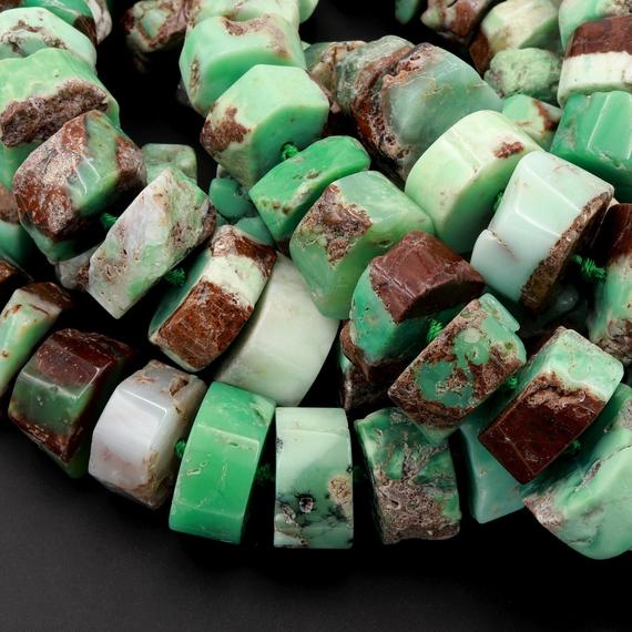 """Huge Phenomenal Faceted Natural Australian Chrysoprase Beads Center Drilled Rondelle Wheel Saucer Hand Cut Graduated Nuggets 15.5"""" Strand"""