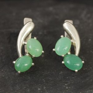 Shop Chrysoprase Earrings! Chrysoprase Earrings, Natural Chrysoprase, May Birthstone, Vintage Earrings, 2 Stone Earrings, Green Earrings, Silver Earrings, Chrysoprase | Natural genuine Chrysoprase earrings. Buy crystal jewelry, handmade handcrafted artisan jewelry for women.  Unique handmade gift ideas. #jewelry #beadedearrings #beadedjewelry #gift #shopping #handmadejewelry #fashion #style #product #earrings #affiliate #ad