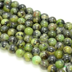 Shop Chrysoprase Round Beads! 8mm Genuine Natural Chrysoprase Gemstone Black Green Round 8mm Loose Beads 7.5 Inch Half Strand (80006328-83) | Natural genuine round Chrysoprase beads for beading and jewelry making.  #jewelry #beads #beadedjewelry #diyjewelry #jewelrymaking #beadstore #beading #affiliate #ad
