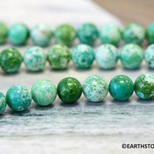 "Shop Chrysoprase Round Beads! M / Lemon Chrysoprase 8mm Round Loose Beads. Bright Dyed Green 45pc On A Strand. 16"" Long Per Strand Wholesale Beads Supply 