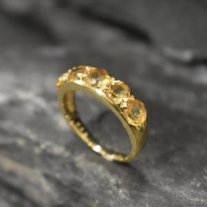 Shop Citrine Rings! Gold Citrine Ring, Natural Citrine Ring, Statement Band, November Birthstone, Yellow Gemstone Band, Thick Yellow Ring, Solid Silver Ring | Natural genuine Citrine rings, simple unique handcrafted gemstone rings. #rings #jewelry #shopping #gift #handmade #fashion #style #affiliate #ad