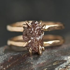 Double Band Rustic Raw Brown Diamond Alternative Engagement Ring. Raw Diamond Ring. Brown Diamond Ring. Double Band Raw Diamond Ring. | Natural genuine Gemstone rings, simple unique alternative gemstone engagement rings. #rings #jewelry #bridal #wedding #jewelryaccessories #engagementrings #weddingideas #affiliate #ad