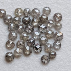 Shop Diamond Round Beads! 1.5-2mm Rose Cut Diamond, Natural Salt And Pepper Round Rose Cut Diamond, Flat Back  Rose Cut Diamond Cabochon For Jewelry (17Pcs To 34Pcs) | Natural genuine round Diamond beads for beading and jewelry making.  #jewelry #beads #beadedjewelry #diyjewelry #jewelrymaking #beadstore #beading #affiliate #ad