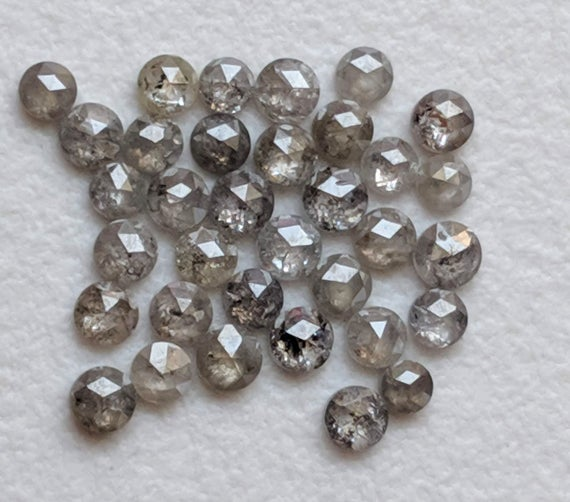 1.5-2mm Rose Cut Diamond, Natural Salt And Pepper Round Rose Cut Diamond, Flat Back  Rose Cut Diamond Cabochon For Jewelry (17pcs To 34pcs)