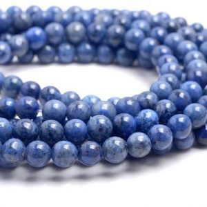 Shop Dumortierite Beads! 6mm South Africa Blue Dumortierite Gemstone Grade AAA Light Blue Round 6mm Loose Beads 15.5 inch Full Strand (80004537-115) | Natural genuine round Dumortierite beads for beading and jewelry making.  #jewelry #beads #beadedjewelry #diyjewelry #jewelrymaking #beadstore #beading #affiliate #ad