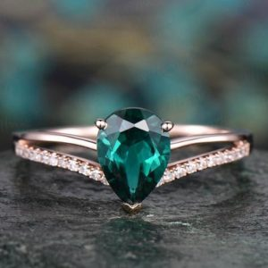6x8mm pear cut emerald engagement ring rose gold diamond ring split shank stacking band gift unique antique wedding promise anniversary ring | Natural genuine Array rings, simple unique alternative gemstone engagement rings. #rings #jewelry #bridal #wedding #jewelryaccessories #engagementrings #weddingideas #affiliate #ad
