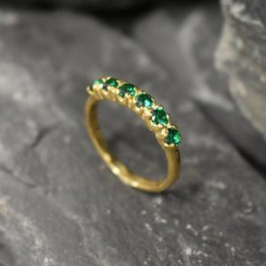 Half Eternity Ring, Gold Emerald Ring, Created Emerald Ring, Gold Eternity Ring, Green Diamond Ring, Gold Vinatge Band, Gold Stackable Band | Natural genuine Array jewelry. Buy crystal jewelry, handmade handcrafted artisan jewelry for women.  Unique handmade gift ideas. #jewelry #beadedjewelry #beadedjewelry #gift #shopping #handmadejewelry #fashion #style #product #jewelry #affiliate #ad