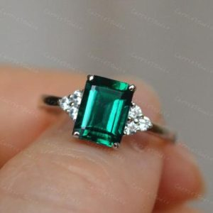 Lab Created Emerald Engagement Ring/ Emerald Cut Anniversary Ring/925 Silver Emerald Promise Ring | Natural genuine Array rings, simple unique alternative gemstone engagement rings. #rings #jewelry #bridal #wedding #jewelryaccessories #engagementrings #weddingideas #affiliate #ad