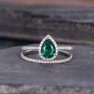 White Gold Lab Emerald Engagement Ring Set Bridal Sets Pear Shaped Diamond Halo Promise May Birthstone Women Anniversary Ring 2pcs | Natural genuine Array rings, simple unique alternative gemstone engagement rings. #rings #jewelry #bridal #wedding #jewelryaccessories #engagementrings #weddingideas #affiliate #ad