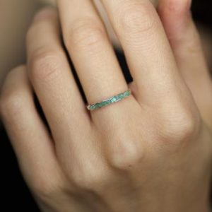 Wrapped Raw Emerald Band Ring. Emerald Ring. Raw Stone Ring. Green Stone Ring. Emerald Wedding Band Ring. Emerald Engagement Ring. | Natural genuine Array jewelry. Buy handcrafted artisan wedding jewelry.  Unique handmade bridal jewelry gift ideas. #jewelry #beadedjewelry #gift #crystaljewelry #shopping #handmadejewelry #wedding #bridal #jewelry #affiliate #ad
