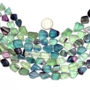 "Aaa Fluorite Faceted 16mm-20mm Nuggets Beads | Natural Fluorite Semi Precious Gemstone Step Cut Tumbled Rare Beads For Jewelry | 15"" Strand 