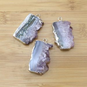 Shop Fluorite Pendants! Natural crystral Stone  Pendant with silver、glod  Electroplated Edges Nature  fluorite Druzy pendant for necklace –DIY Jewelry-TR156 | Natural genuine Fluorite pendants. Buy crystal jewelry, handmade handcrafted artisan jewelry for women.  Unique handmade gift ideas. #jewelry #beadedpendants #beadedjewelry #gift #shopping #handmadejewelry #fashion #style #product #pendants #affiliate #ad