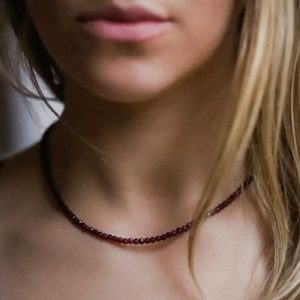Shop Garnet Necklaces! Natural Garnet Beaded Necklace | Women's Gemstone Choker Necklace | Faceted Red Garnet | Sterling Silver Extender | Beaded Necklace | Natural genuine Garnet necklaces. Buy crystal jewelry, handmade handcrafted artisan jewelry for women.  Unique handmade gift ideas. #jewelry #beadednecklaces #beadedjewelry #gift #shopping #handmadejewelry #fashion #style #product #necklaces #affiliate #ad