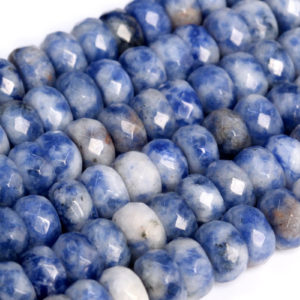 Shop Sodalite Faceted Beads! Genuine Natural Blue Spot Loose Beads Faceted Rondelle Shape 6x4mm 8x5mm | Natural genuine faceted Sodalite beads for beading and jewelry making.  #jewelry #beads #beadedjewelry #diyjewelry #jewelrymaking #beadstore #beading #affiliate #ad