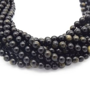 Shop Golden Obsidian Beads! Golden Obsidian Bead | Gold Sheen Black Round Smooth Finish Gemstone Beads | 4mm 6mm 8mm 10mm 12mm Available | Natural genuine round Golden Obsidian beads for beading and jewelry making.  #jewelry #beads #beadedjewelry #diyjewelry #jewelrymaking #beadstore #beading #affiliate #ad