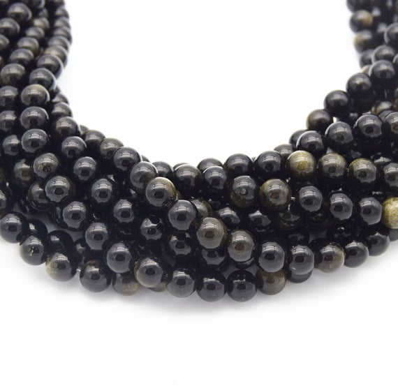 Golden Obsidian Bead   Gold Sheen Black Round Smooth Finish Gemstone Beads   4mm 6mm 8mm 10mm 12mm Available