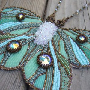 LUNABELLE – bead embroidery butterfly necklace |  #affiliate