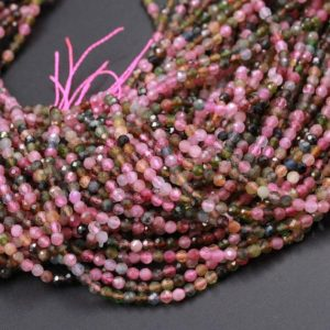 "Shop Green Tourmaline Beads! AAA Grade Micro Faceted Natural Multicolor Tourmaline 2mm 3mm Faceted Round Beads Real Genuine Pink Green Tourmaline 15.5"" Strand 