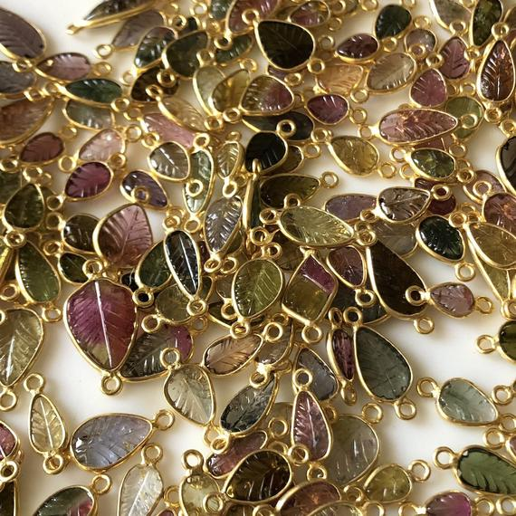 10 Pieces Multi Tourmaline Hand Carved Leaf Shaped 925 Silver Gold Vermeil Jewelry Connectors, Pink Green Tourmaline Connectors, Gds1073