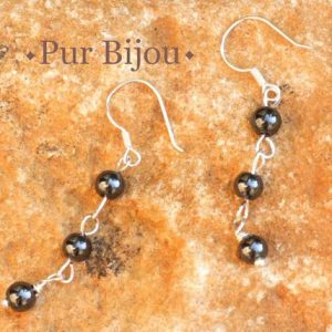 Shop Hematite Earrings! Earrings 925 Sterling Silver And Stone – Hematite 4mm | Natural genuine Hematite earrings. Buy crystal jewelry, handmade handcrafted artisan jewelry for women.  Unique handmade gift ideas. #jewelry #beadedearrings #beadedjewelry #gift #shopping #handmadejewelry #fashion #style #product #earrings #affiliate #ad