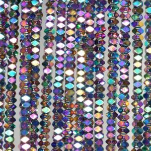 Shop Hematite Faceted Beads! 3x2mm Titanium Rainbow Hematite Gemstone Faceted Rectangle Loose Beads 15.5 inch Full Strand (90185551-837) | Natural genuine faceted Hematite beads for beading and jewelry making.  #jewelry #beads #beadedjewelry #diyjewelry #jewelrymaking #beadstore #beading #affiliate #ad