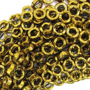 "Shop Hematite Bead Shapes! 12mm hematite twist donut beads 16"" strand gold 32476 