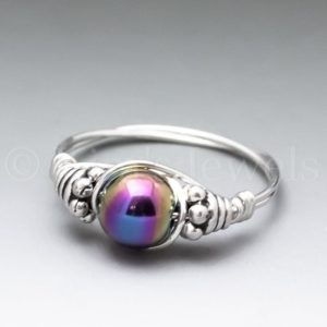 Shop Hematite Rings! Rainbow Magnetic Hematite Bali Sterling Silver Wire Wrapped Gemstone Bead Ring – Made To Order, Ships Fast! | Natural genuine Hematite rings, simple unique handcrafted gemstone rings. #rings #jewelry #shopping #gift #handmade #fashion #style #affiliate #ad