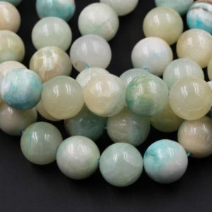 """Natural Hemimorphite Round Beads Large 14mm 16mm 18mm Rare Natural Soft Baby Blue Smooth Polished Sphere Ball 15.5"""" Strand 