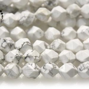 """Shop Howlite Chip & Nugget Beads! Howlite Faceted Nugget Star Cut Bead, diamond Cut Bead, nugget Beads, natural, gemstone, white Howlite, 6mm 8mm 10mm, 15"""" Full Strand 