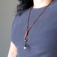 Lava & Howlite Necklace Brown Leather Black White Stone Protection Oil Diffuser Jewelry | Natural genuine Gemstone jewelry. Buy crystal jewelry, handmade handcrafted artisan jewelry for women.  Unique handmade gift ideas. #jewelry #beadedjewelry #beadedjewelry #gift #shopping #handmadejewelry #fashion #style #product #jewelry #affiliate #ad