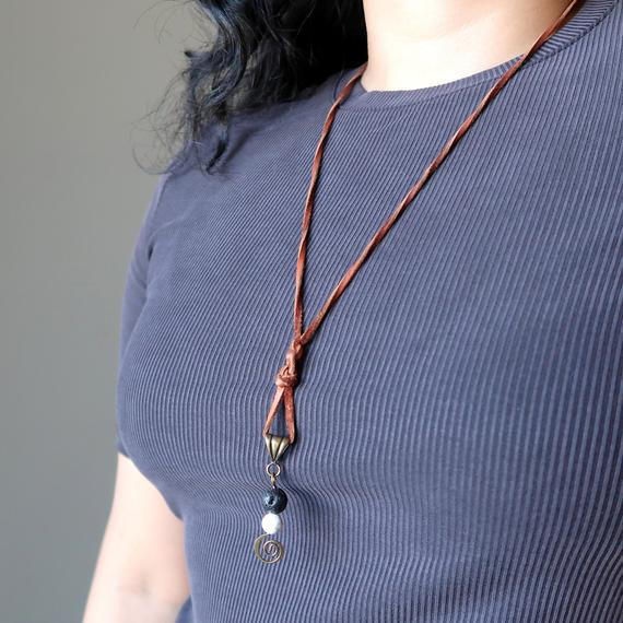 Lava & Howlite Necklace Brown Leather Black White Stone Protection Oil Diffuser Jewelry