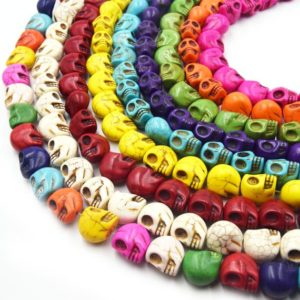 Howlite Skull Beads | Dyed Skull Shaped Beads – Available in 8mm 10mm 18mm | Natural genuine beads Gemstone beads for beading and jewelry making.  #jewelry #beads #beadedjewelry #diyjewelry #jewelrymaking #beadstore #beading #affiliate #ad