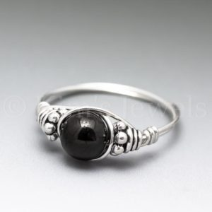 Shop Jet Rings! Black Jet Bali Sterling Silver Wire Wrapped Gemstone BEAD Ring – Made to Order, Ships Fast! | Natural genuine Jet rings, simple unique handcrafted gemstone rings. #rings #jewelry #shopping #gift #handmade #fashion #style #affiliate #ad