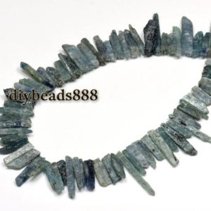 "Shop Kyanite Chip & Nugget Beads! Kyanite smooth point bead,slice nugget,spike,stick,top drilled bead,Blue Kyanite,Genuine,Natural,Gemstone,DIY,6-9×20-40mm,15"" full strand 