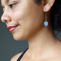 Blue Kyanite Earrings Oval Gemstone Brass Dangle | Natural genuine Gemstone jewelry. Buy crystal jewelry, handmade handcrafted artisan jewelry for women.  Unique handmade gift ideas. #jewelry #beadedjewelry #beadedjewelry #gift #shopping #handmadejewelry #fashion #style #product #jewelry #affiliate #ad