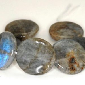 Shop Labradorite Round Beads! 20MM Labradorite Gemstone Round Button Loose Beads 7 inch Half Strand (90142416-B75) | Natural genuine round Labradorite beads for beading and jewelry making.  #jewelry #beads #beadedjewelry #diyjewelry #jewelrymaking #beadstore #beading #affiliate #ad