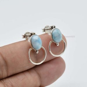 Shop Larimar Earrings! Larimar Earrings | 925 Sterling Solid Silver Earring | 7x9mm Oval Blue Larimar Earrings | Blue Heal Earrings | Boho Earrings | Gift For Wife | Natural genuine Larimar earrings. Buy crystal jewelry, handmade handcrafted artisan jewelry for women.  Unique handmade gift ideas. #jewelry #beadedearrings #beadedjewelry #gift #shopping #handmadejewelry #fashion #style #product #earrings #affiliate #ad