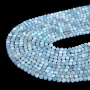 Shop Larimar Faceted Beads! Genuine Natural Dominican Larimar Gemstone Caribbean Light Blue 2mm 3mm Micro Faceted Round Beads 15.5 Inch Full Strand Lot 1, 2, 6, 12 And 50 | Natural genuine faceted Larimar beads for beading and jewelry making.  #jewelry #beads #beadedjewelry #diyjewelry #jewelrymaking #beadstore #beading #affiliate #ad