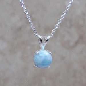 Caribbean Larimar Necklace, 7mm Genuine Larimar Pendant in Sterling Silver, Gifts for Women | Natural genuine Larimar pendants. Buy crystal jewelry, handmade handcrafted artisan jewelry for women.  Unique handmade gift ideas. #jewelry #beadedpendants #beadedjewelry #gift #shopping #handmadejewelry #fashion #style #product #pendants #affiliate #ad