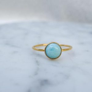 lagoon – 6mm larimar 14K gold-fill ring. stack rings. baby blue gemstone mint green gold ring | Natural genuine Array jewelry. Buy crystal jewelry, handmade handcrafted artisan jewelry for women.  Unique handmade gift ideas. #jewelry #beadedjewelry #beadedjewelry #gift #shopping #handmadejewelry #fashion #style #product #jewelry #affiliate #ad