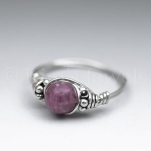 Shop Lepidolite Rings! Lepidolite Bali Sterling Silver Wire Wrapped Gemstone BEAD Ring – Made to Order, Ships Fast! | Natural genuine Lepidolite rings, simple unique handcrafted gemstone rings. #rings #jewelry #shopping #gift #handmade #fashion #style #affiliate #ad