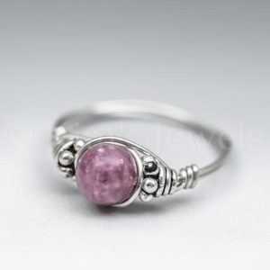 Shop Lepidolite Rings! Pink Lepidolite Bali Sterling Silver Wire Wrapped Gemstone BEAD Ring – Made to Order, Ships Fast! | Natural genuine Lepidolite rings, simple unique handcrafted gemstone rings. #rings #jewelry #shopping #gift #handmade #fashion #style #affiliate #ad