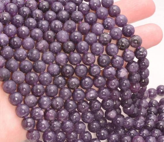 Free Usa Ship Genuine Natural Purple Lepidolite Gemstone Grade Aaa 4mm 6mm 8mm 10mm Round Loose Beads Full Strand (a223)